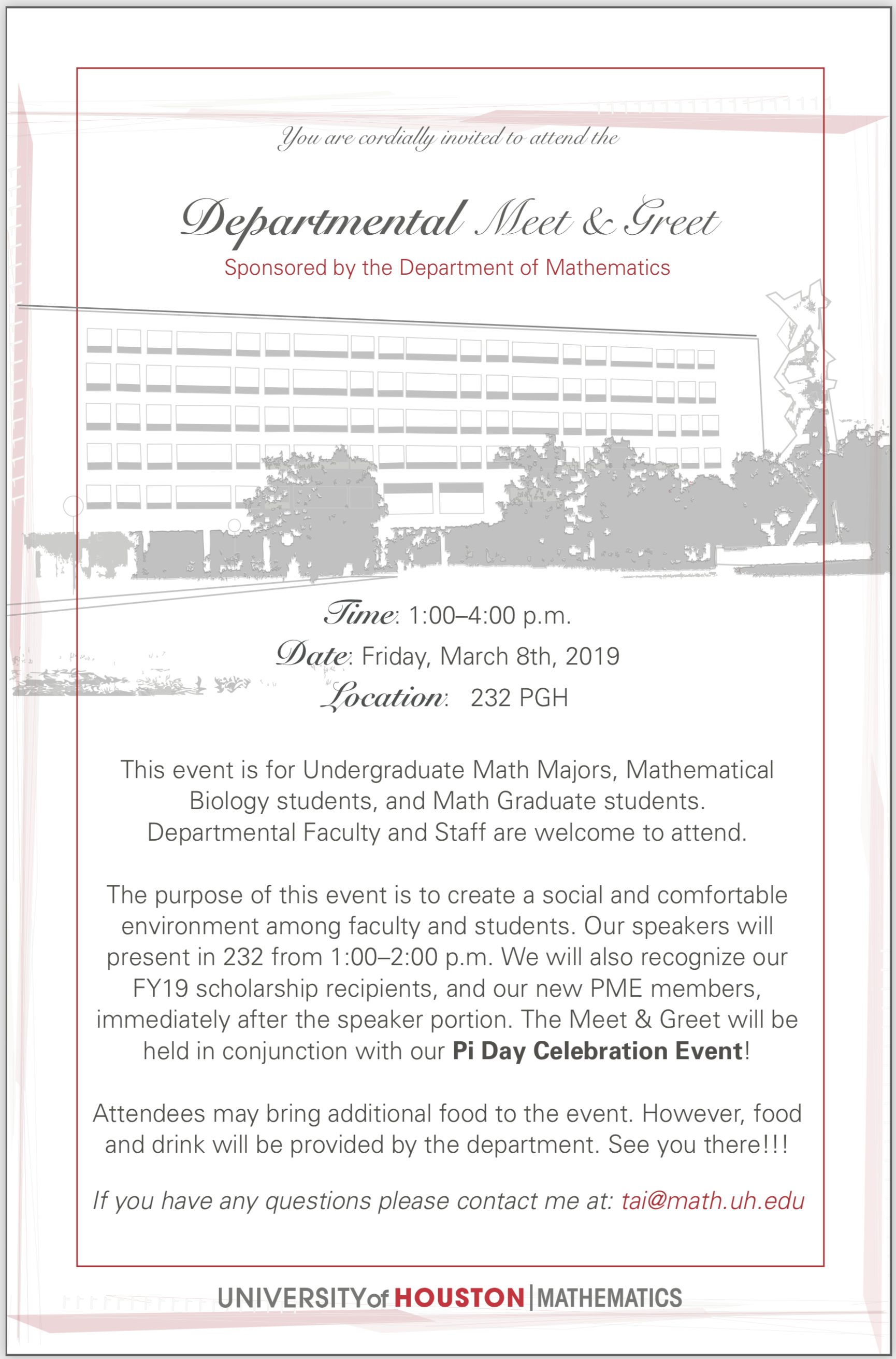 Pi Mu Epsilon - UH Math Club - Events