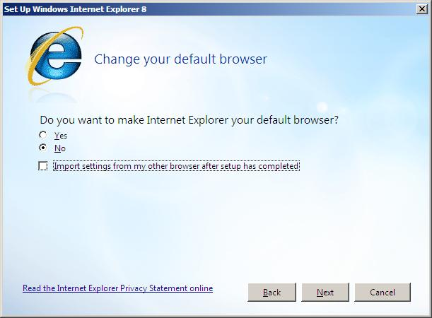 Suggested options for Internet Explorer 8 Setup
