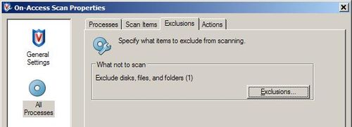 mcafee how to add entire folders to scan exception