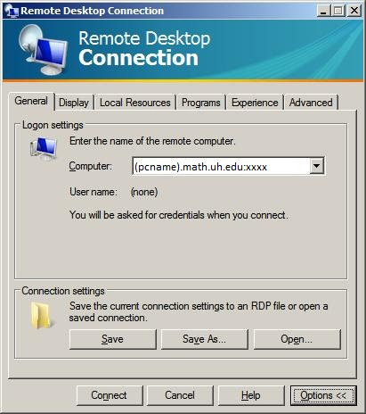 Connect to your Mathematics PC using MS Remote Desktop